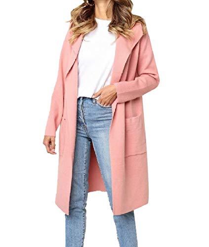 CuteRose Womens Regular Solid-Colored Classics Cardi Midi Premium Top Coat Pink XS Tall Classic Peacoat