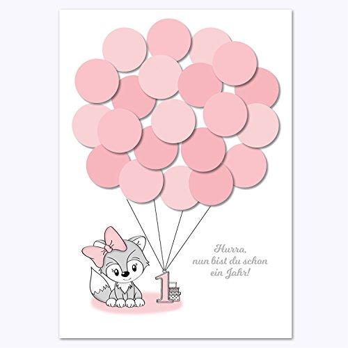 Erster Geburtstag, 1. Geburtstag Geschenk, Gastgeschenk, Deko, Andenken, Idee, Glückwünsche, Fingerabdruck, Erinnerungsstück, Fuchs, mädchen, rosa