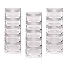 Baker Ross Stackable Screw Top Storage Pots, Perfect to Fill, Organise, Tidy and Store Craft Materials, Ideal for School, Home, Craft Groups and More (Pack of 3)