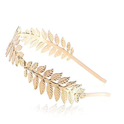 (JZTRADING Golden Leaf Stirnband Griechischen Stil Krone Diadem Tiara Haarschmuck Graceful Universal Größe für Frauen Mädchen in Hochzeit Halloween Tägliche Nutzung)