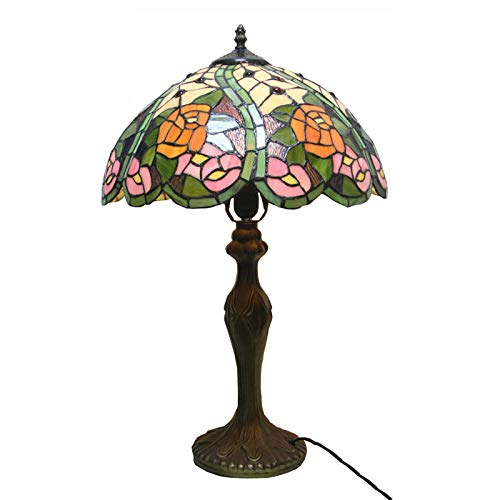 Tiffany-stil-rote Rose (SHPEHP Tiffany Lampe antiken Stil glasmalerei tischlampe 16 Zoll rote Rose lampenschirm, Wohnzimmer Schlafzimmer Nacht schminktisch couchtisch, E27 (Spannung: 110 V - 240 V)-Flowercolor)