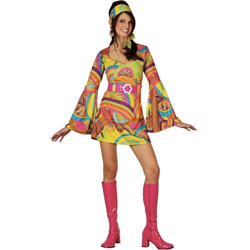 Girls Groovy Kostüm - Wicked Costumes Verkleidung Groovy Go-Go-Girl Kostüm Retro 60iger/70iger, Gr. S
