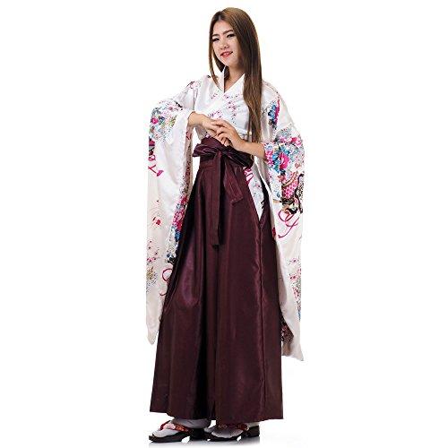 Princess of Asia Japanisches Damen Samurai Kimono Outfit Cosplay Kostüm S M 36 38 40 (Weiß & Weinrot) (Japanische Yukata Kostüm)