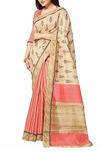 DivyaEmporio Women's Faux Cotton Silk Saree (BG-12_Off-White)