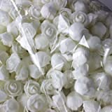 #9: 50pcs 2.5cm Artificial Roses PE Foam Rose Flower Wedding Party Home Decoration Valentine's day Fake Flowers-White