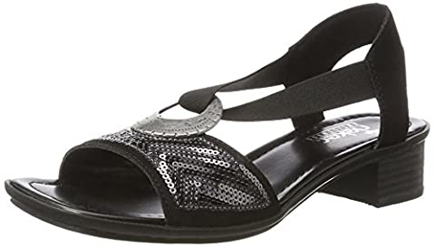 Rieker Damen 62678 Offene Sandalen mit Keilabsatz, Schwarz (Schwarz / 00), 40 EU