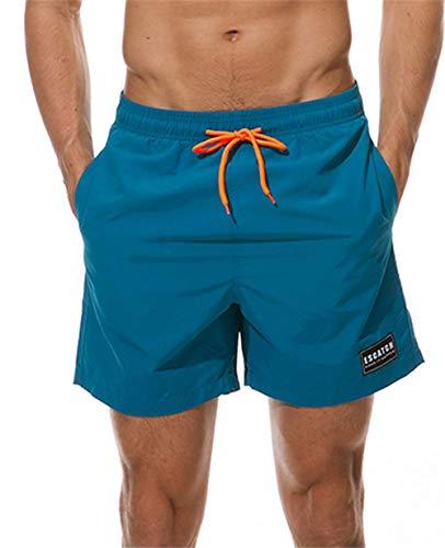 KISSMODA Herren Badeanzüge Wasserdichte Badehose Schnell Trocknend Strand Tragen Shorts Bademode Blau (Tragen Shorts)