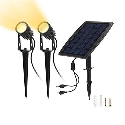 Foco LED Solar Proyector | Foco solar al aire libre Impermeable para patio, jardín y entrada de coches | De anochecer a amanecer Automático encendido (3000K-blanco cálido)