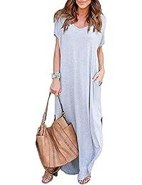 Vestido de Mujer Verano Flojo Casual Largo Liso Tunica Manga Larga y Corta Imperio Otoño e