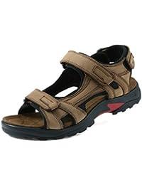Herren Rund Toe Baotou Sandalen Leichte Bequeme Sommer Atmungsaktive Klettverschluss Schnalle Sandaletten Gelb 46 EU XniLOX