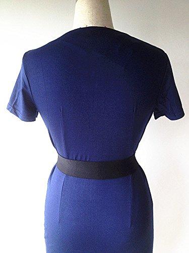 KingField - Robe - Crayon - Manches Courtes - Femme Multicolore Bigarré Multicolore - Bleu profond