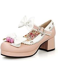 Damen Schnüren Quadratisch Zehe Mittler Absatz Lackleder Rein Pumps Schuhe, Weiß, 43 AgooLar