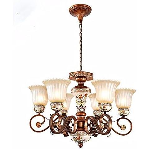 MSUXT lampade a sospensione Designer 6 personalità e lampadari e 74*100cm Tavolo da pranzo Bar (Corsia Crema)