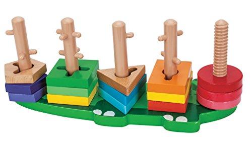 Toys of Wood Oxford Forma de apilador de madera - Bloques de formas de madera con 18 tarjetas de patrones y 12 discos de colores para apilar y crear patrones - Juguetes de clasificación de madera