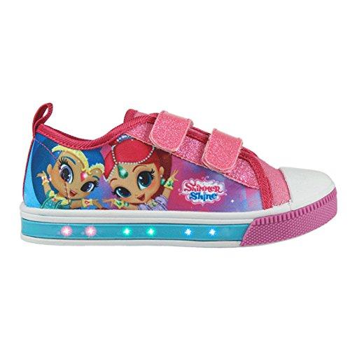 Shimmer and shine scarpe da ginnastica sneaker con led in tela con chiusura a strappo - novità prodotto originale 23-2927 [rosa - 27]