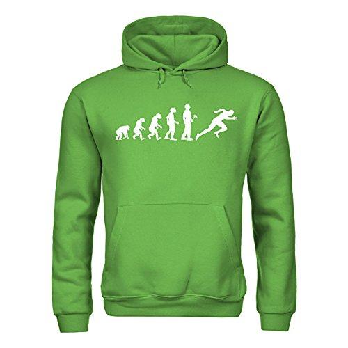 MDMA Kinder Kapuzensweatshirt Evolutionstheorie Leichtathletik Sprint mdma-kh00379-50 Textil realgreen / Motiv weiss Gr. 152/164
