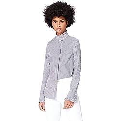 FIND Blusa de Rayas para Mujer, Negro (Black Stripe), 42 (Talla del Fabricante: Large)