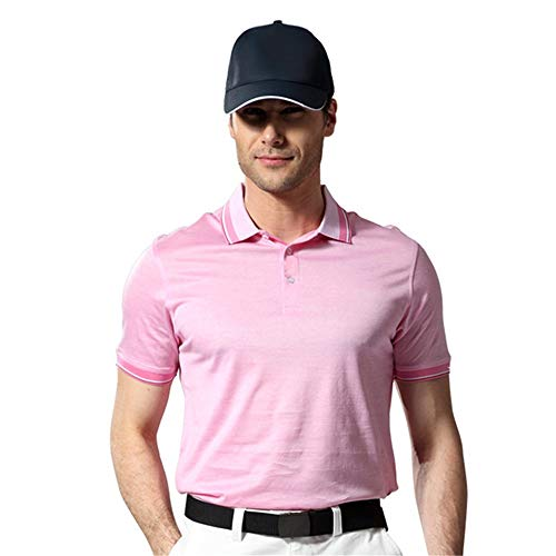 Mercerisierte Golf (Kurzarm Männer Sport Top Herren Kurzarm Revers Polo Shirt Mercerisierte Baumwolle Golf T-Shirt Atmungsaktiv Anti-Falten Outdoor Sports Erwachsene T-Shirt Strand-T-Shirt (Farbe : Rosa, Größe : M))