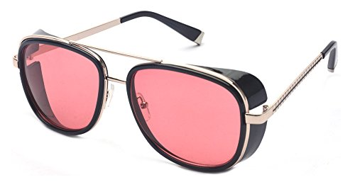 Outray Vintage Steampunk Sonnenbrille Retro Sonnenbrille für Männer und Frauen Rot