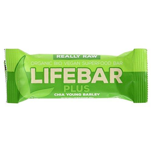 Lifebar Bio Chia Young Barley Rohkost-Riegel, glutenfrei, vegan, 100% Raw, 47 g