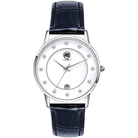 AIBI impermeabile donna Cover Ultra sottile per orologio da polso da uomo, analogico, al quarzo, con funzione data 51601-1 AB