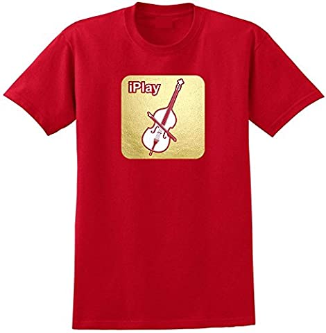 Double Bass I Play - Red Rouge T Shirt Taille 87cm 36in Small MusicaliTee