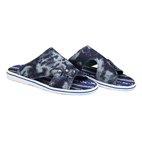 SHANGXIAN Unisex Hausschuhe Sommer Leinwand Casual Flat Gummiabsatz blau grün star