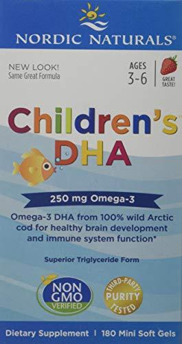 Nordic Naturals, Children's DHA (DHA für Kinder), 250mg, Erdbeere, 180 Mini-Weichkapseln   Gentechnikfrei   Molekular distilliert   Garantierte Reinheit   Kein fischiger Nachgeschmack