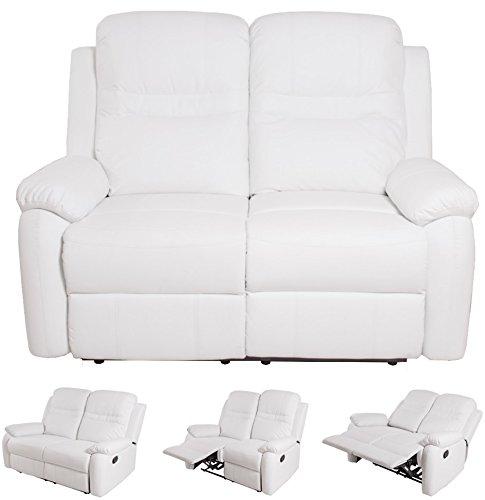 Compralo.eu - divano ecopelle reclinabile recliner 2 posti sofà casa alfiere bianco