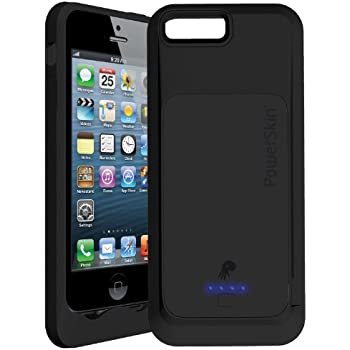 PowerSkin Shockproof 1500mAh Battery Case Cover with Lightning Connector for iPhone 5 - MFI Apple Approved and Compatible with iOS8 / 7 - Black