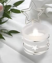 Silver Candle Holder-Place Card Holder with Star, 1