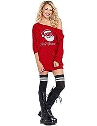 KOLY Donne da Babbo Natale Freddo Costume Vestito Ragazzine Senza Spalline  Vestito dalla Stampa Swing Maniche 402f0dbeb24a
