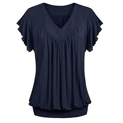 Overdose Frauen Plus Größe Lose V-Ausschnitt Kurzarm Solid Farbe Tops Plissee Bluse T-Shirt Damen Sommer Tops Oberteile(Dark Blue,3XL)