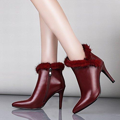 ANI Stazione Europea: Scarpe Autentiche, Stivali da Donna, Stivali Eleganti con Stivali a Punta, Stivali Grandi Vino rosso