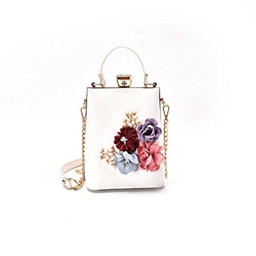 QPALZM Frauen-Weinlese-Art Und Weise Top-Handgriff-Handtaschen-Einkaufstasche-Schultaschen-Troddeln White