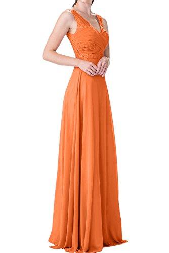 Charmant Damen Burgundy Chiffon langes Abendkleider mit Spitze ballkleider  Brautjungfernkleider Abschlussballkleider Hell Orange