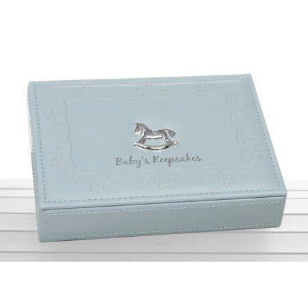 Blue Faux Leather Baby Boy Keepsake Box