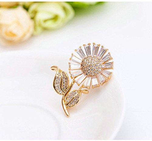 Adisaer Rosegold Vergoldet Broschen Damen Brosche Hochzeit Corsage Braut Daisy Sonnenblume Kristall Zirkonia - 4