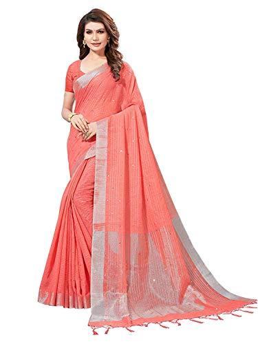 Indische Frauen Bollywood Sari Party Tragen Ethnischen Spiegel Arbeit Hochzeit Sari Mit Ungesticktem Blousepiece (Pfirsich) - Ethnischen Spiegel