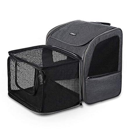 Petacc Hunde Katzen Rucksack Skalierbar Geräumig Hundetasche Belüftung Haustier Transportbox Bequem, Transporttasche für Reisen für kleine Hunde, Katzen und Kleintiere bis 6,8 kg