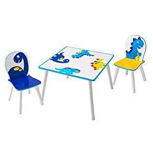 dinosaur kids table and 2 chair set by hellohome kitchen home. Black Bedroom Furniture Sets. Home Design Ideas