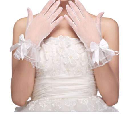 Weiße Kostüm Kurze Handschuhe - JHLWLS Brauthandschuhe Weiße Hochzeit Braut Kurze Handschuhe Vollfinger Durchsichtig Band Bowknot Decor Handgelenk Länge Kostüm Prom Party Solid Color