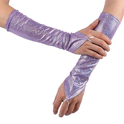 Tiaobug Damen Fingerlose Handschuhe Leder Armstulpen mit Glitzer Tanz Kostüm Accessoires in Gold Silber Rosa Lila Blau Bunt Violett One ()