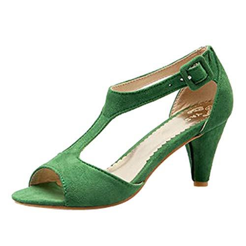 Fenverk Damen Spitz Riemchensandalen Slingback Heel Kleid Pumps Stilett Spikes Straps Sandalen Elegante Riemchen Abend Sandaletten High Heels Stilettos Schuhe(Grün,42 EU) -