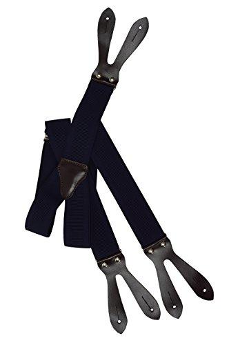Olata unisex bretelle regolabili con vera pelle marrone scuro asole, 3.5cm larghezza - blu navy