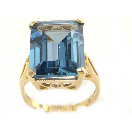 Große 16 x 12 Luxus Damen Marquise solide 9 Karat Gold Gelbgold Synthetische Aquamarine - Verfügbare Größen : 50 bis 64 (Antik Aquamarin Ringe)