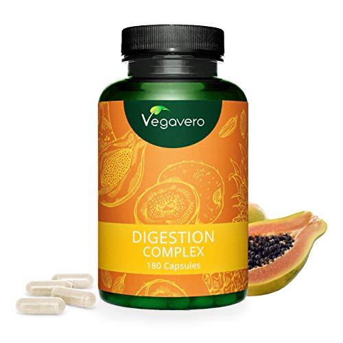 Enzimas Digestivas Veganas Vegavero® | 100% NATURAL | Papaína y Bromelina | Con Extractos de Cardamomo, Kiwi y Comino | 180 Cápsulas | Ideal con Probióticos | Suplemento para Digestión