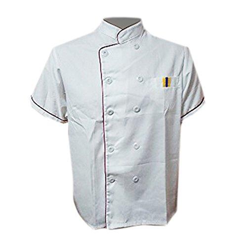 Erwachsene Männer Jungen Baumwolle Arbeitsanzug Arbeitsoveralls Kitchen Koch Kochen Ober Kellner Kellnerin Arbeit Kleidung Anzug Uniform kurzärmelig weiß M (Kochen, Kleidung)