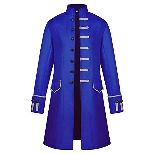 Mantel Winter Steampunk Long Coat Gothic Mantel Retro Jacke Stehkragen Behaart Großes Pendel Windjacke Smoking Mantel - Schwarz Kleid Blau Mit Masquerade
