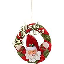 Guirnalda Corona Colgante de Navidad para Puerta Pared Decoración Santa Claus